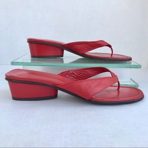 Donald J Pilner Red Leather Slip On Sandals